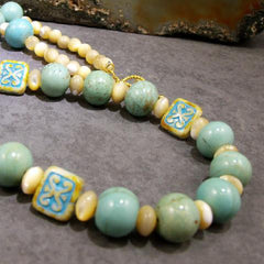 long turquoise semi-precious stone jewellery necklace uk