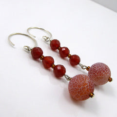 carnelian drop earrings with agate beads