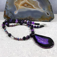 black and purple semi-precious unique necklace uk