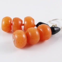 unique black orange earrings handcrafted jewellery