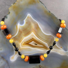 black orange semi-precious gemstone jewellery necklace obsidian coral