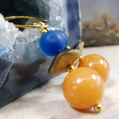 orange blue gemstone unique statement earrings