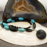 handcrafted chunky semi-precious stone pendant necklace uk