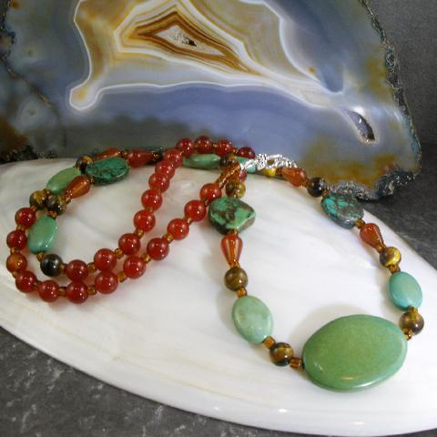 long turquoise necklace uk designed
