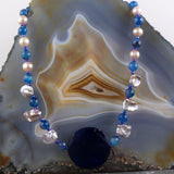 blue agate semi-precious bead handcrafted necklace