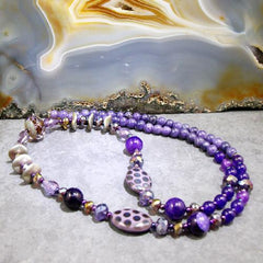 unique handmade purple semi-precious necklace uk crafted