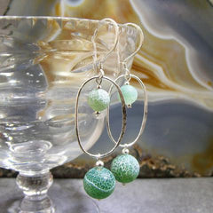 long green stone earrings agate and silver