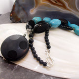 Uk crafted chunky blue black semi-precious stone necklace