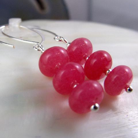 pink statement earrings, rhodonite pink gemstone jewellery