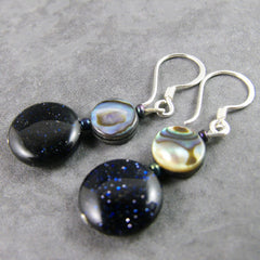 unusual handmade drop semi-precious earrings