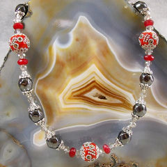 hematite coral handmade semi-precious statement necklace jewellery uk