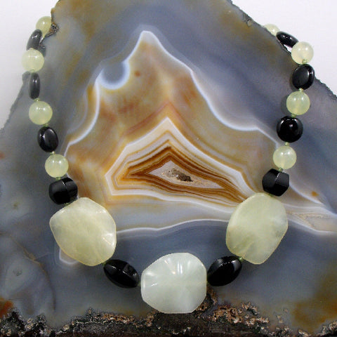 Black Onyx & Jade necklace, green gemstone necklace, green jade jewellery UK, semi-precious bead jewellery