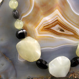 detail for Jade necklace with onyx