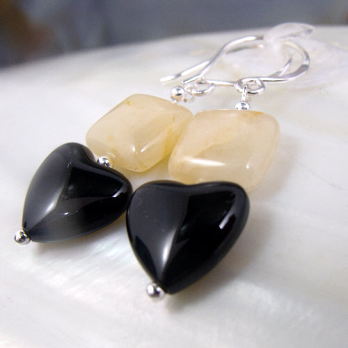 love heart earrings, semi-precious stone jewellery uk