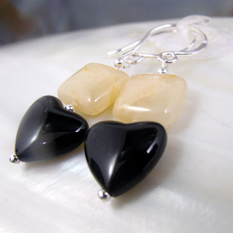 Love heart earrings, Onyx & Arraoganite semi-precious stone earrings, romantic heart gemstone bead jewellery