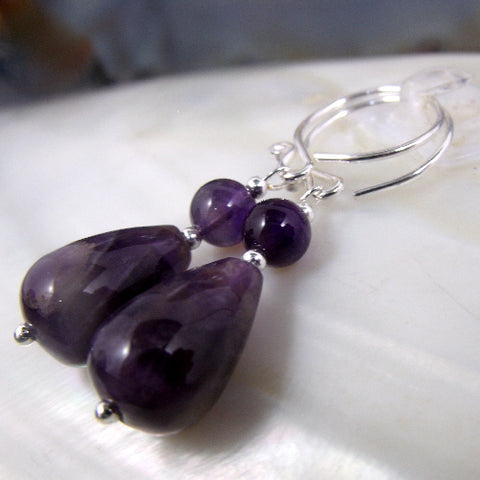 Amethyst gemstone jewellery UK, Amethyst earrings, semi-precious stone bead earrings, Amethyst jewellery