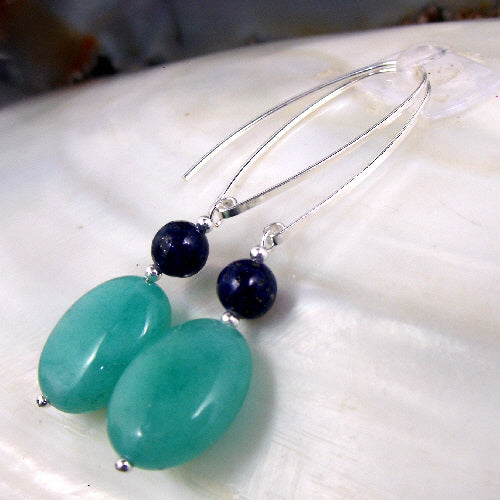long semi-precious bead earrings, gemstone jewellery uk