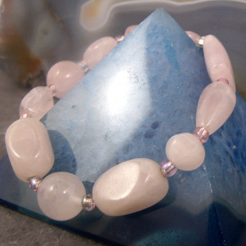 Rose Quartz bracelet, pink semi-precious gemstone bead bracelet, Rose Quartz gemstone jewellery