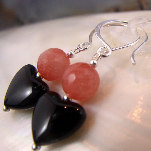 romantic love heart earrings, beaded semi-precious stone jewellery