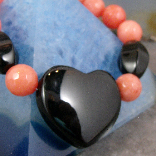 love heart bracelet, unique semi-precious gemstone bead bracelet