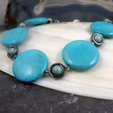 turquoise semi-precious stone necklace with hematite