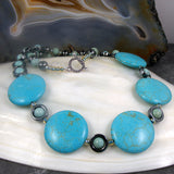 turquoise jewellery necklace, unique gemstone beaded necklace uk