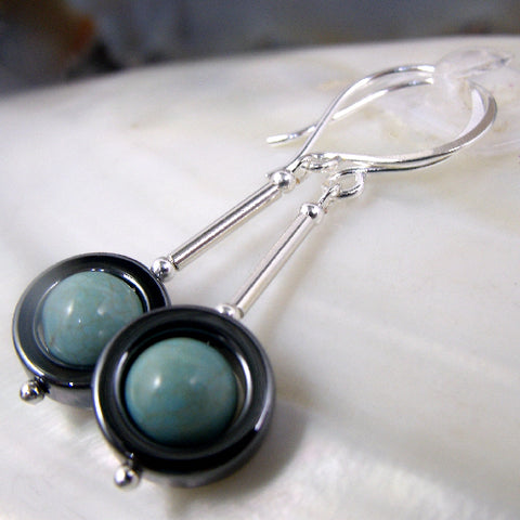 Turquoise semi-precious gemstone jewellery, semi-precious stone drop Turquoise earrings, Turquoise jewellery