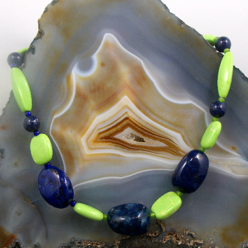 long green blue necklace, long semi-precious stone necklace blue green