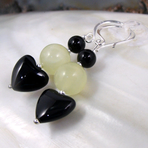 Semi-precious bead jewellery, Onyx Jade earrings UK,  Jade semi-precious stone earrings, romantic heart earrings
