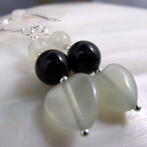 jade earrings, love heart semi-precious gemstone jewellery uk