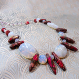 opal quartz semi-precious stone necklace design