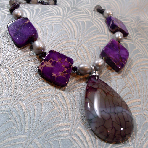 gemstone pendant necklace, unique semi-precious stone jewellery, handmade necklace