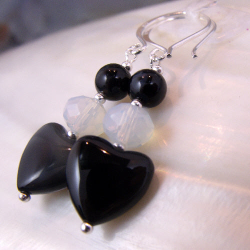 romantic heart earrings beaded gemstone jewellery uk