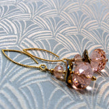 pink crystal beads with gold fittines