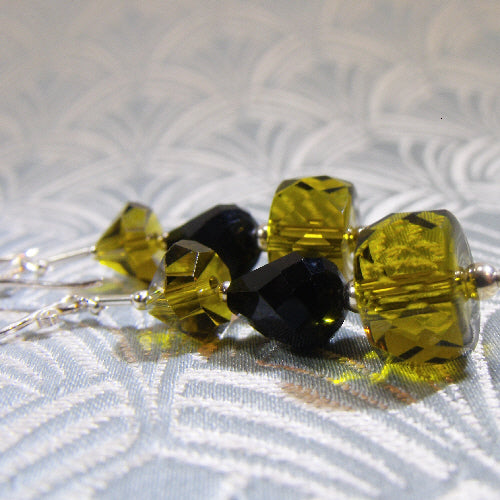 green black crystal earrings, handmade earrings unique in design