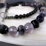 purple black gemstone bead necklace