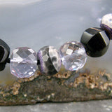 Beaded Semi-precious stone jewellery, black, purple, handmade semi-precious stone necklace