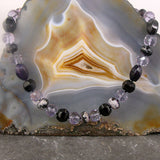 purple black necklace, beaded gemstone jewellery