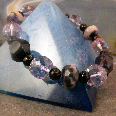 Beaded gemstone jewellery, semi-precious bead bracelet, gemstone black & purple stretch bracelet