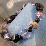 gemstone stretch bracelet black purple