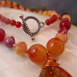 gemstone pendant necklace detail agate