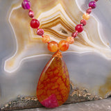 Beaded Semi-precious jewellery, Agate semi-precious stone necklace gemstone pendant, Agate necklace