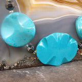 turquoise necklace with hemstite