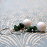 white jade turquoise earrings, handmade jewellery sale