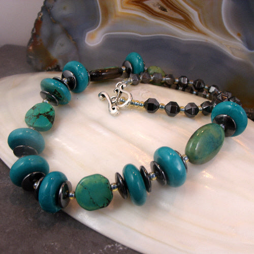 chunky turquoise necklace, semi-precious gemstone jewellery uk