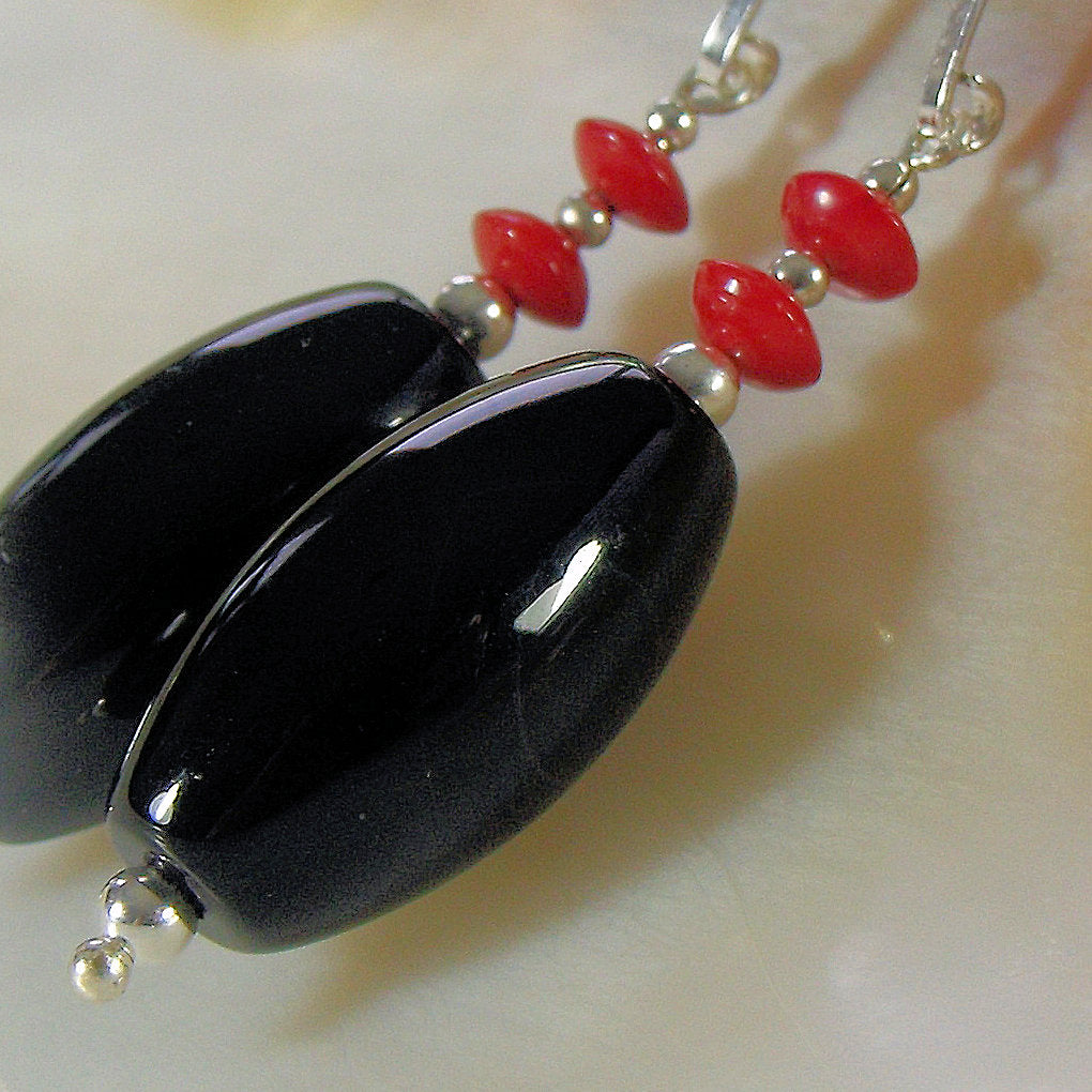 long black earrings, handmade semi-precious stone jewellery