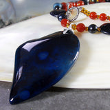 agate heart gemstone necklace, semi-precious bead jewellery