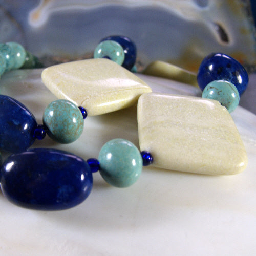 semi-precious stone necklace, unique handmade semi-precious jewellery
