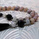 grey black semi-precious beaded necklace