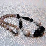 grey black unique semi-precious bead necklace crafted uk